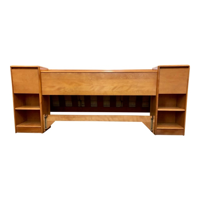 Mid Century Heywood Wakefield Full Size Headboard W/Attached Nightstands For Sale