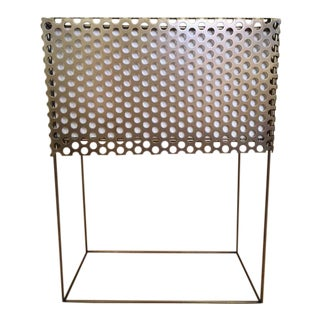 Gold Metal Perforated Square Table Lamp