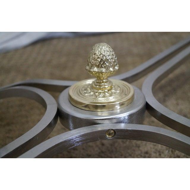 LaBarge Regency Brushed Steel & Brass Coffee Table - Image 7 of 10