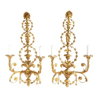 Decorative Crafts Adam Style Hand Carved Italian Giltwood Sconces- a Pair For Sale