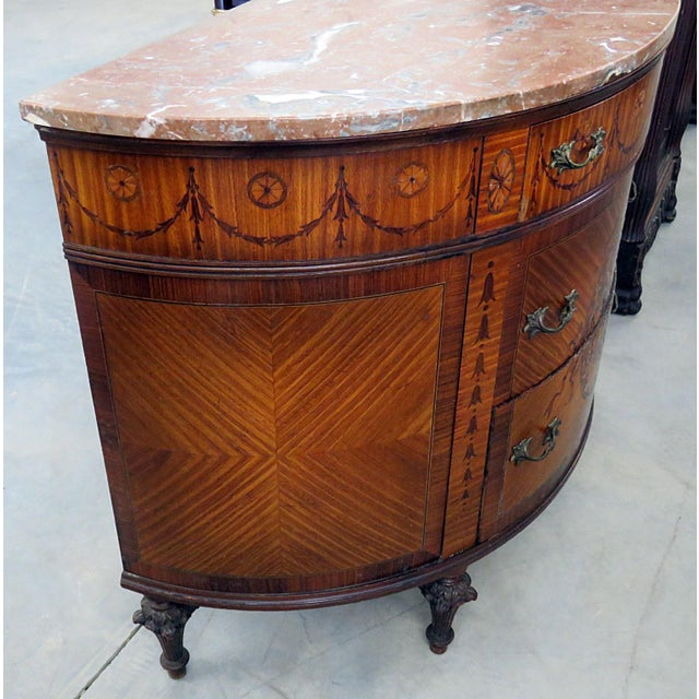 Early 20th Century 20th Century EnglishTtraditional Adams Style Marble Top Demilune For Sale - Image 5 of 9