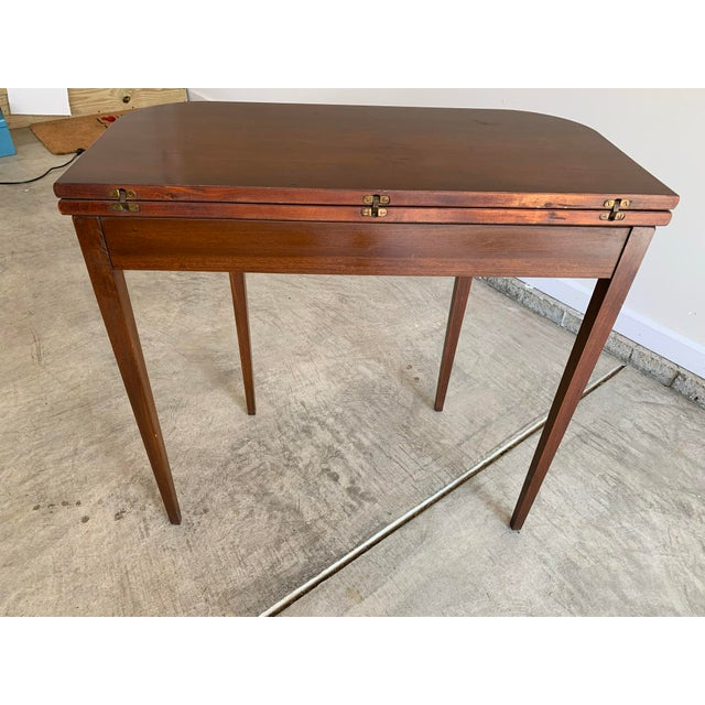 American Antique Mutual Furniture Co. Flip Top Mahogany Card Table For Sale - Image 3 of 12