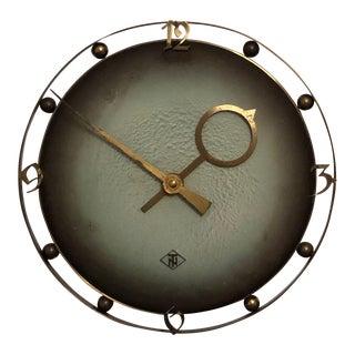 German Tn Telenorma Brass Wall Clock For Sale