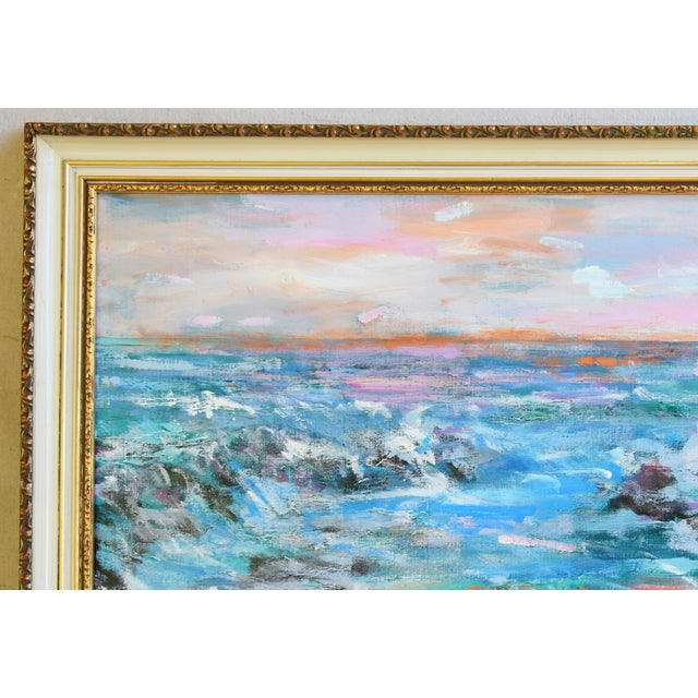 Abstract Juan Guzman Ventura California Crashing Ocean Waves Oil Painting For Sale - Image 3 of 10