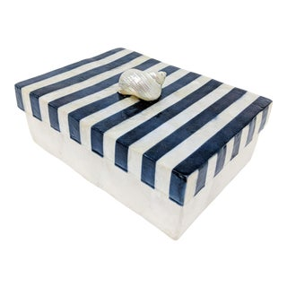 Navy & White Striped Box With Shell Handle Top For Sale
