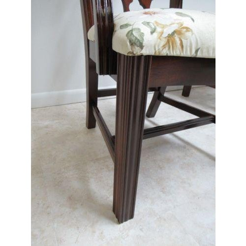 Fabric Thomasville Solid Mahogany Chippendale Dining Arm Chairs - a Pair For Sale - Image 7 of 12