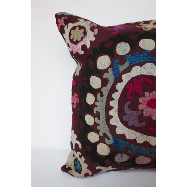 1970s Vintage Handmade Needlework Suzani Throw Pillow Cover For Sale - Image 5 of 13