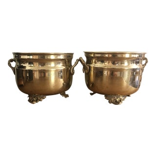 1970s Vintage Solid Brass Footed Planters- a Pair For Sale