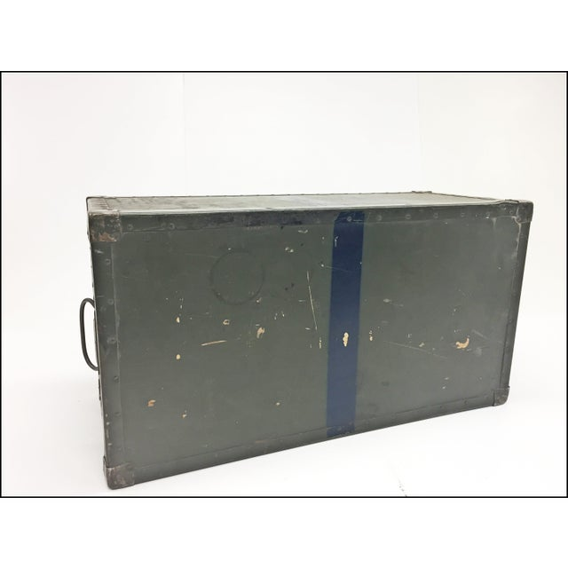 Vintage Industrial Drab Green Military Chest W Removable Lid For Sale - Image 9 of 12