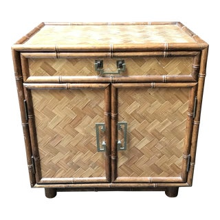 Bamboo and Rattan Side Table Cabinet