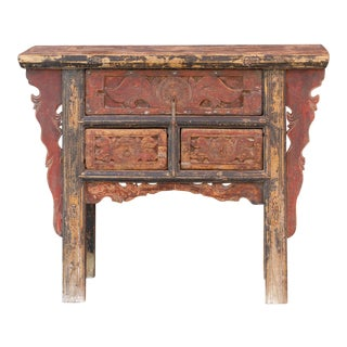 Graceful Carved Drawer Console For Sale