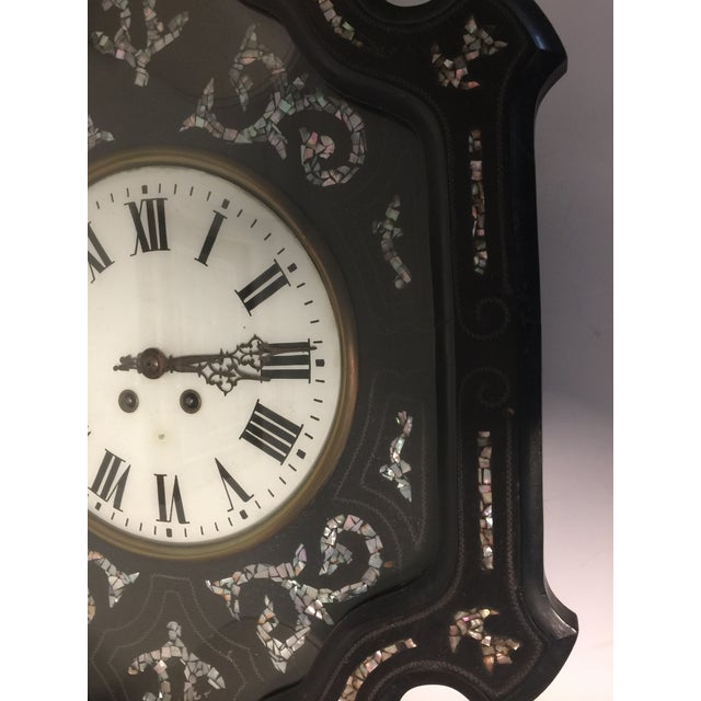 Napoleon III Ebony and Mother of Pearl Inlay Wall Clock For Sale - Image 4 of 11