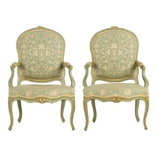 19th Century French Louis XV Green Painted Antique Arm Chairs - A Pair