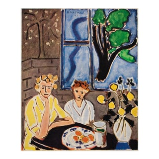 """1948 Matisse """"Two Girls and Blue Window on Gray Background"""" First Edition Period Lithograph for Verve For Sale"""