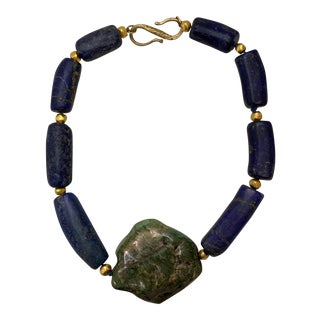 Very Cool Lapis and Hardstone Necklace For Sale