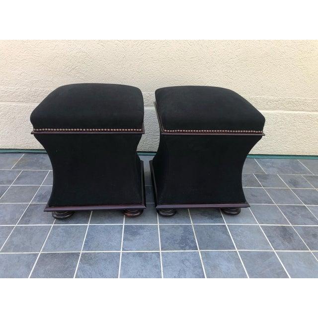 Black Mohair & Mahogany Hourglass Ottomans by George Smith -A Pair For Sale - Image 10 of 10
