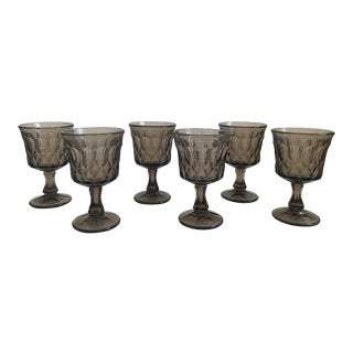Vintage Thumbprint Smoked Pressed Glass Goblets - Set of 6 For Sale