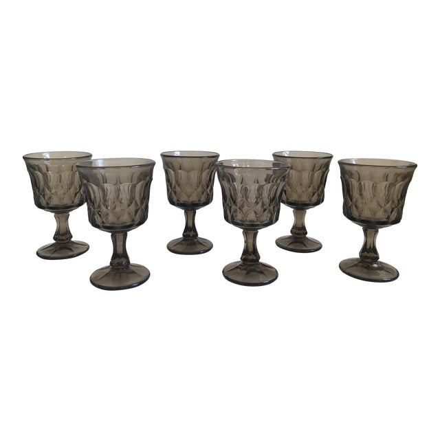 Vintage Thumbprint Smoked Pressed Glass Goblets - Set of 6 - Image 1 of 7