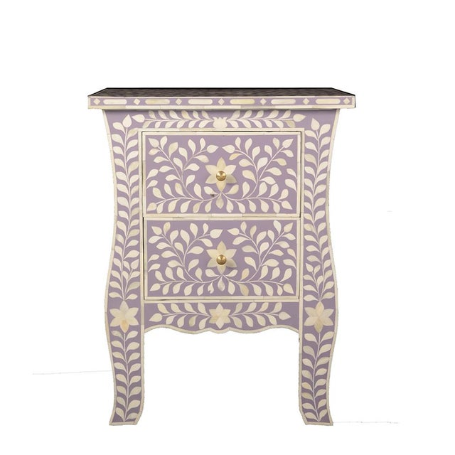 2020s Imperial Beauty 2 Drawer Bedside Table in Lilac/White For Sale - Image 5 of 5