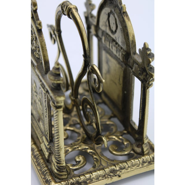 Brass Renaissance Revival Double Brass Letter Rack With Carrying Handle For Sale - Image 8 of 12