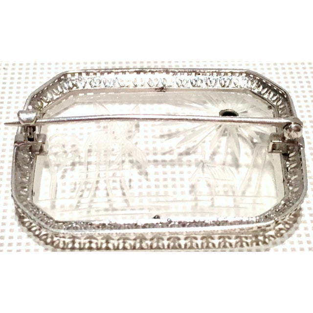 Transparent Antique Platinum Etched Crystal & Diamond Brooch For Sale - Image 8 of 9