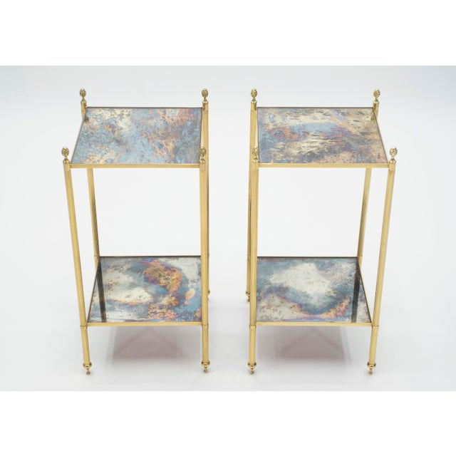 Pair of French Maison Jansen Brass Mirrored Two-Tier End Tables 1960s For Sale - Image 13 of 13