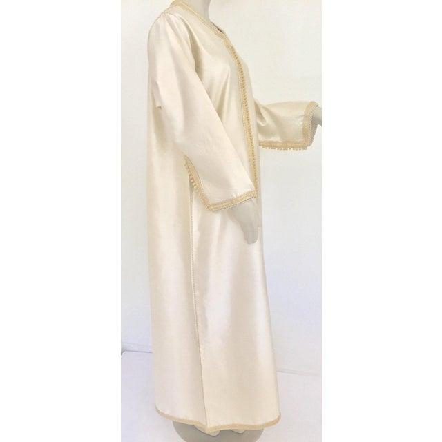 Metal Moroccan Elegant Luxury Dupiono Silk Caftan Gown Maxi Dress For Sale - Image 7 of 13