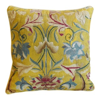 "19th-C. French Needlepoint Feather/Down Pillow 21"" Square For Sale"
