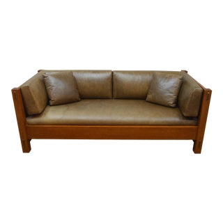 Stickley Mission Oak Leather Sofa For Sale