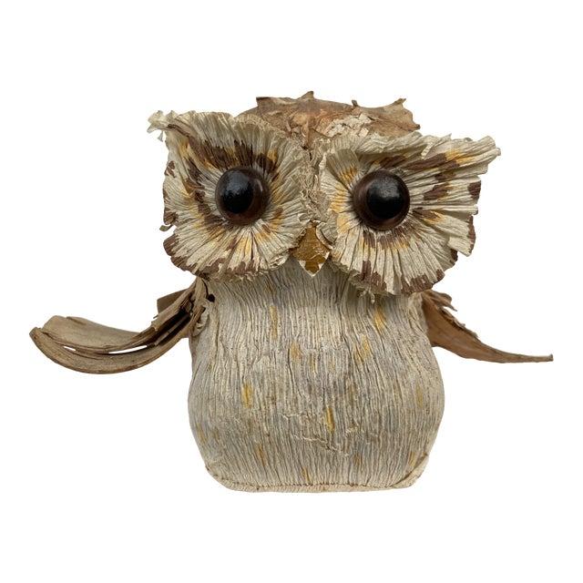 Vintage Organic Woodbark Owl For Sale