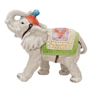 1983 Japanese Porcelain Circus Elephant Figurine or Bookend For Sale