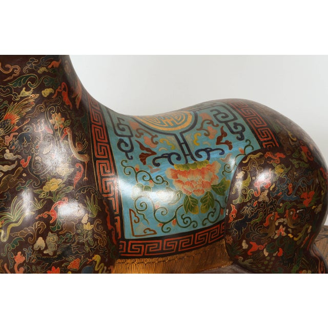 Asian Asian Wood Hand-Painted Figure of a Recumbent Ram For Sale - Image 3 of 7