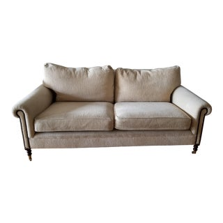 George Smith 2 Seat Sofa Full Scroll Nail Head Arm For Sale