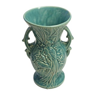 McCoy Mid-Century Pottery Bird of Paradise Teal Vase For Sale