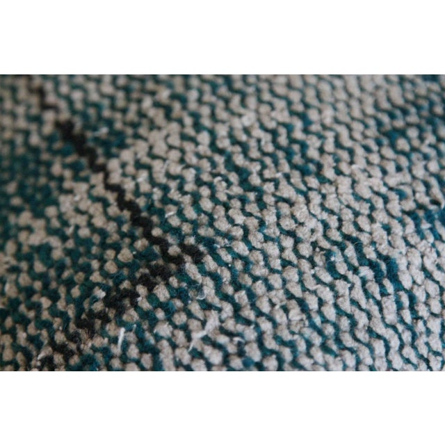 Large Over Dyed Distressed Teal Turquoise Hand-Knotted Rug Pillow For Sale - Image 4 of 5