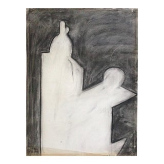 1970's Charcoal Abstract G. Turner Vintage Original Drawing