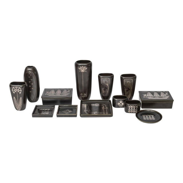 """Collection of Gustavsberg """"Argenta"""" Ceramics in Black Glaze with Silver Inlay For Sale"""