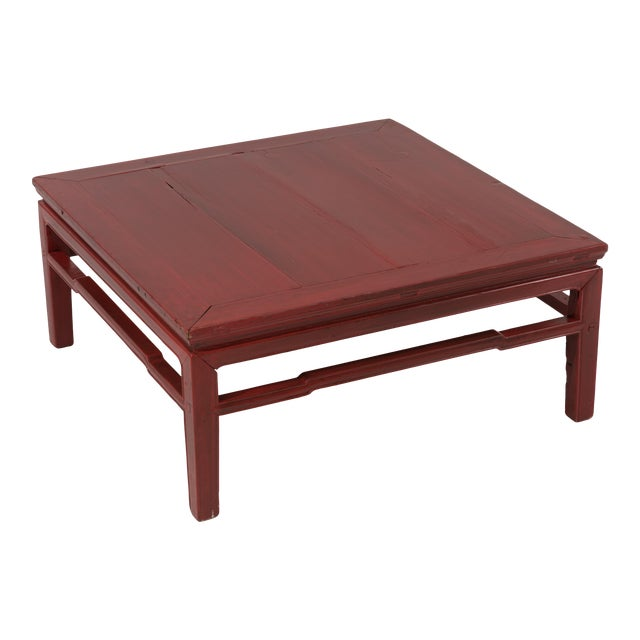 Early 20th Century Antique Chinese Red Coffee Cocktail Table For Sale