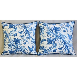 "P. Kaufmann Blue & White Aviary Bird Toile Feather/Down Pillows 24"" Square - Pair Preview"