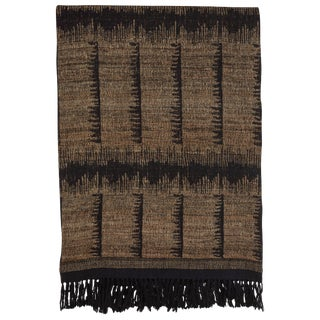 Indian Handwoven Throw Comb Gray For Sale