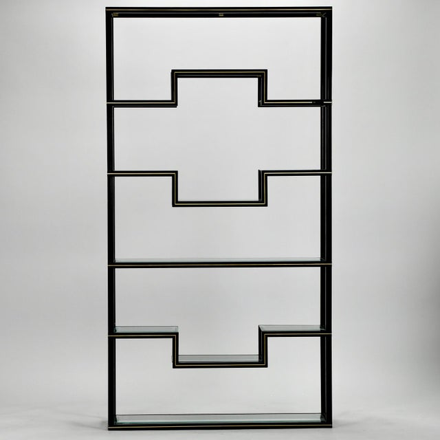 Pierre Vandel Mid Century Pierre Vandel Black Lacquer and Brass Etagere with Glass Shelves For Sale - Image 4 of 9