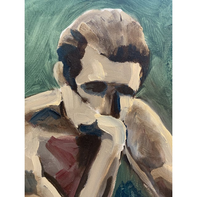 Vintage Seated Male Nude Oil Painting on Canvas For Sale - Image 4 of 5