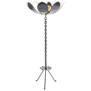 Signed Jacques Vidal French Midcentury Iron Gold Floor Lamp, 1967 For Sale