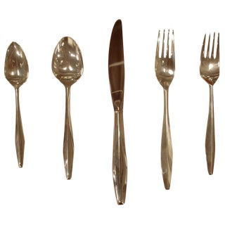 "Set of Gio Ponti Reed & Barton ""Diamond"" Sterling Silverware For Sale"