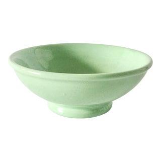 Vintage Mid-Century Hall Ceramics Handmade Bowl in Celedon Green For Sale