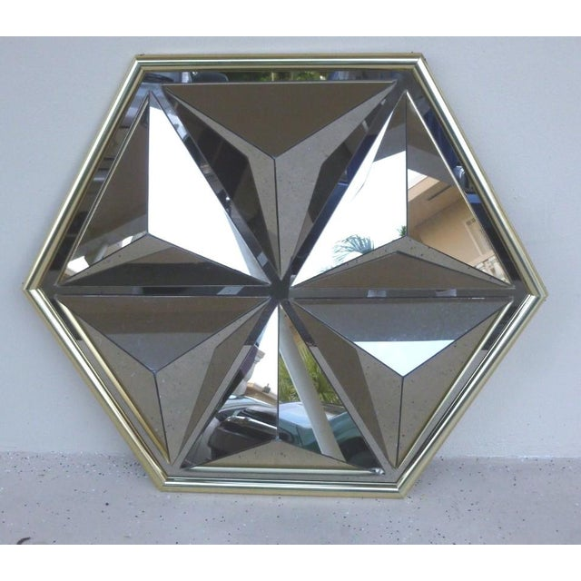 Wild & Crazy Mid Century Modern Pyramid Mirror in the Style of Verner Panton sold as found in vintage condition with minor...