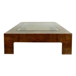 Vintage Burlwood & Beveled Glass Coffee Table For Sale