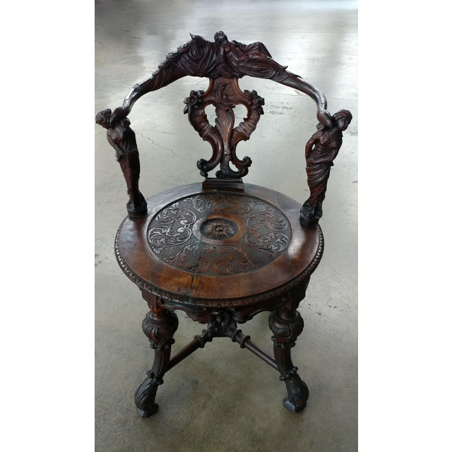 18th century Italian Renaissance round back Arm Chair w/carved reclining figures - Image 4 of 10