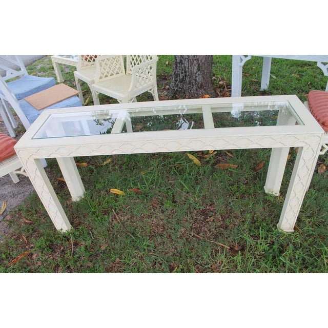 Henredon Chinoiserie Fretwork Console Table For Sale - Image 5 of 9