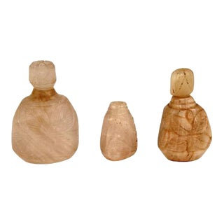 Chinese Pink Quartz Snuff Bottles - Set of 3 For Sale